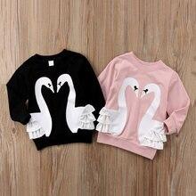 1d99ddde7 Niño niños niña dibujos animados Cisne suéter Jumper Encaje camiseta Top  Rosa negro comodidad del algodón blusa ropa