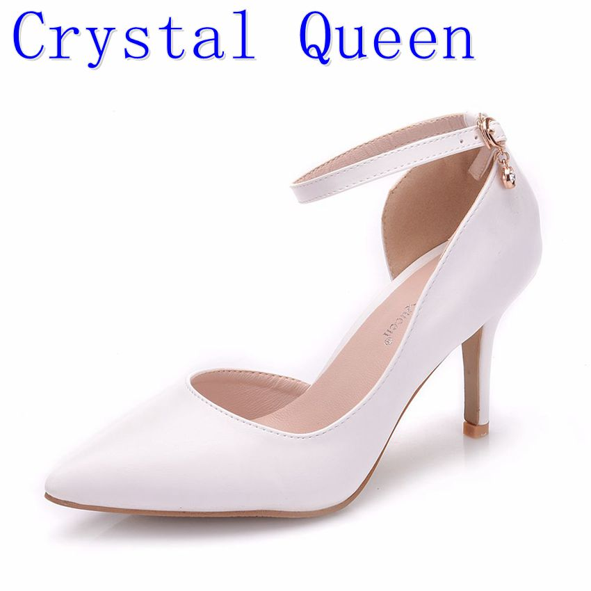 Crystal Queen Women White Heels <font><b>Sexy</b></font> Wedding White <font><b>Shoes</b></font> <font><b>Fetish</b></font> 8cm High Heels Lady Stiletto Plus Size Pumps Sandals image