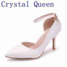 Talons blancs pour femmes, Crystal Queen, chaussures Sexy de mariage, sandales fétiches à talons aiguilles de grande taille, 8cm