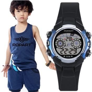 8285fe43849b POPART niños reloj 7 color Light cronómetro alarma 50 m impermeable relojes  niño reloj deportivo reloj