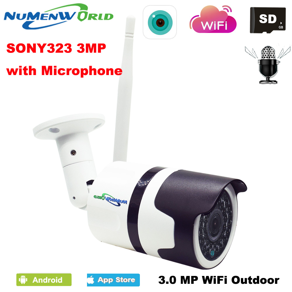Best Wireless IP camera Waterproof network wifi camera 3.0MP HD P2P audio Camera IR Outdoor CCTV Camera SD slot Security IP Cam image
