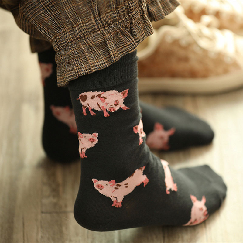 Japanese Women Cute Pet Mini Pig Crew   Socks   Lovely Sweet Pink Pigling Piglet Animal Cotton Short   Sock