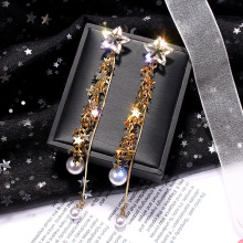 Diamante crystal earrings Silver Needle long tassel female star temperament Bridal Pearl Wedding Female