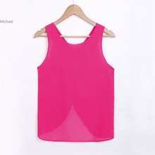 New Hot Sale! Sweet Women Fashion Lady Summer Sleeveless Blouse Chiffon Casual Shirts Sexy Back Strap Vest Tops 35