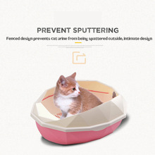 Large Litter Box with Spoon Semi-closed Splash-proof Cat Toilet Plastic Pet Cleaning Training Supplies Dog Accessories