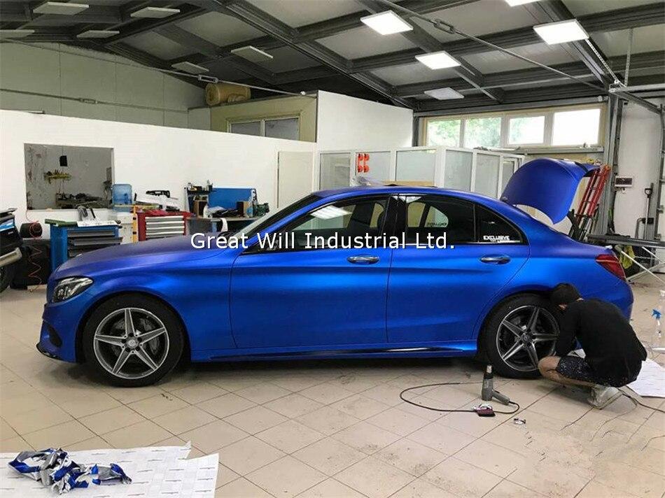Лучшее качество темно-синий сатин хром виниловая оберточная пленка темно-синий матовый хром-винил Автомобильная обертка покрытие без воздушных пузырьков 1,52x20 м/рулон