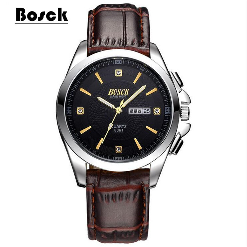 лучшая цена Watch Men's Watch Business Casual Steel Belt Waterproof Quartz Week Calendar Trend Watch