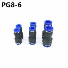 100 Uds PG8 6 8mm agujero a 6mm Accesorios Neumáticos empujar en recto reductor conectores para aire y agua manguera plástico neumático parte