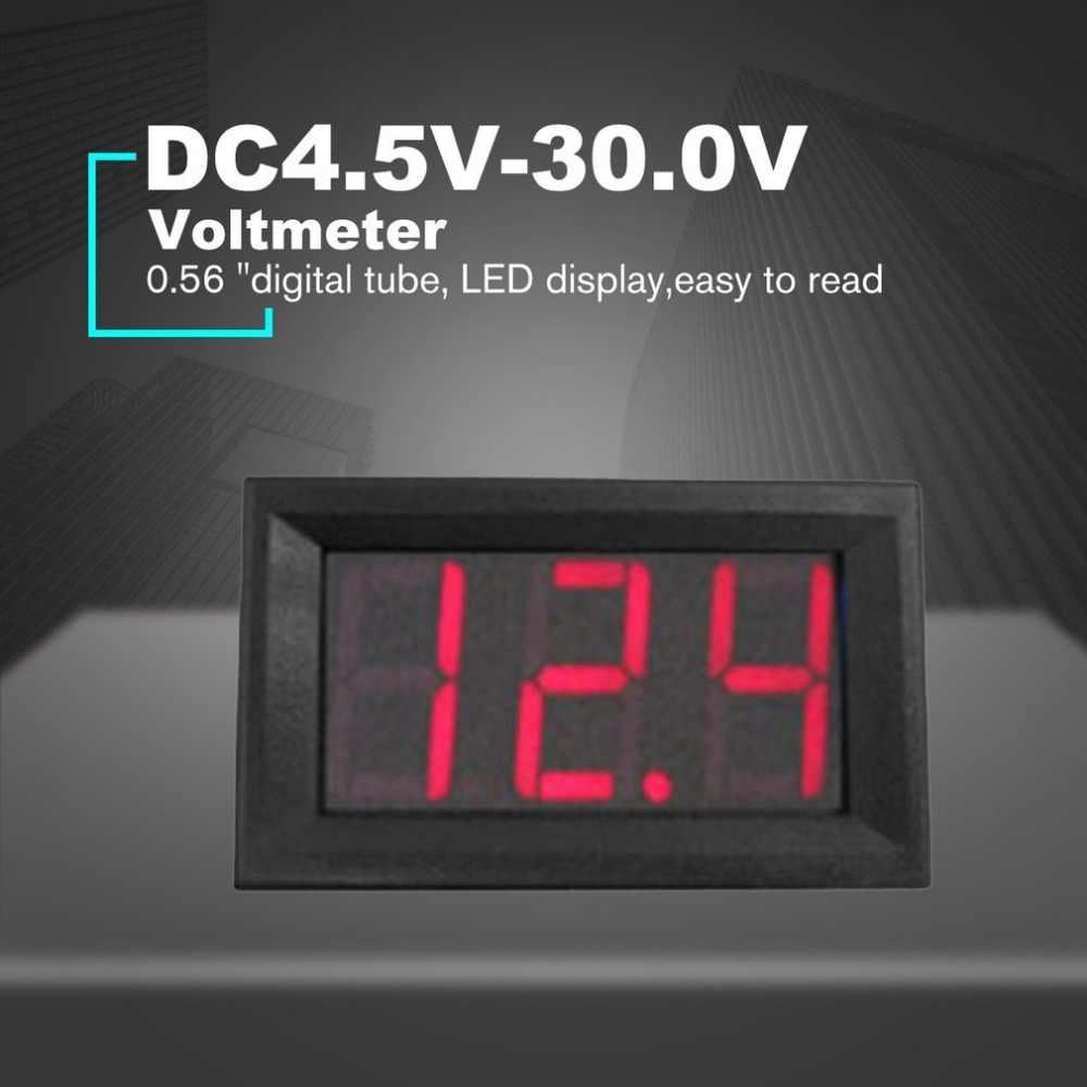 DC4.5V-30.0V 0.56in 2 Wire LED Digital Display Voltmeter Electric Voltage Meter Volt Tester for Auto Battery Car Motorcycle