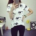 T-shirt Da Forma Das Mulheres Cão Impresso T Shirt Camisas Femininas 2016 Poleras de Mujer Femme Camiseta Tops