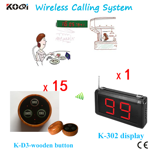 Table Wireless Waiter Call System For Restaurant Equipment 1 Receiver Display and 15 Transmitter Buzzers
