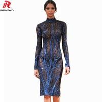 Reaqka Sexy See Through Blue Sequin Dress Women Transparent Maxi Dress 2017 Plus Size Bodycon Moda