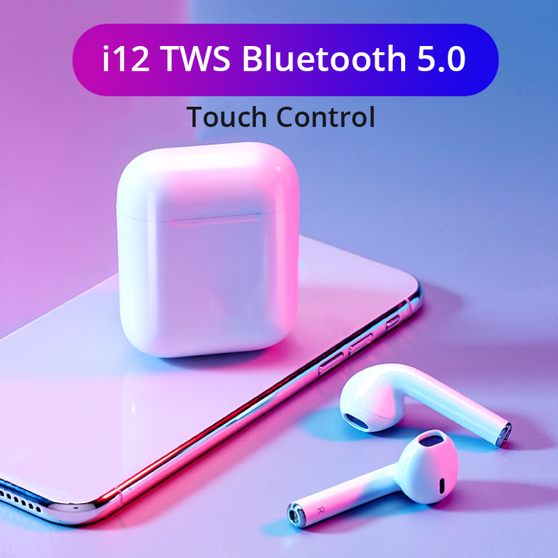 i12 <font><b>TWS</b></font> Wireless <font><b>Bluetooth</b></font> <font><b>5.0</b></font> Earphones Touch Control Sports Sweatproof Headphone Portable Earbuds for <font><b>i10</b></font> i20 <font><b>tws</b></font> i30 i60 i80 image