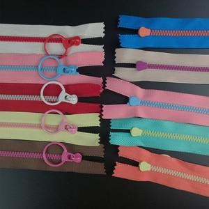 10PCS CONTRAST COLOR 3# Resin Zippers Lifting Ring Quoit Zipper DIY Handmade Accessory Sewing Craft Bag Garment Material Zippers