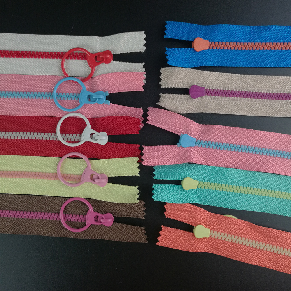 10PCS CONTRAST COLOR 3# Resin Zippers Lifting Ring Quoit Zipper DIY Handmade Accessory Sewing Craft Bag Garment Material Zippers