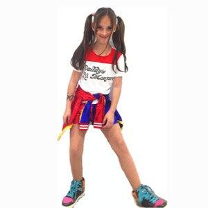Image 3 - Enfants filles Harley Quinn Joker Costume Halloween Cosplay Costumes carnaval veste perruque ensembles pour les enfants