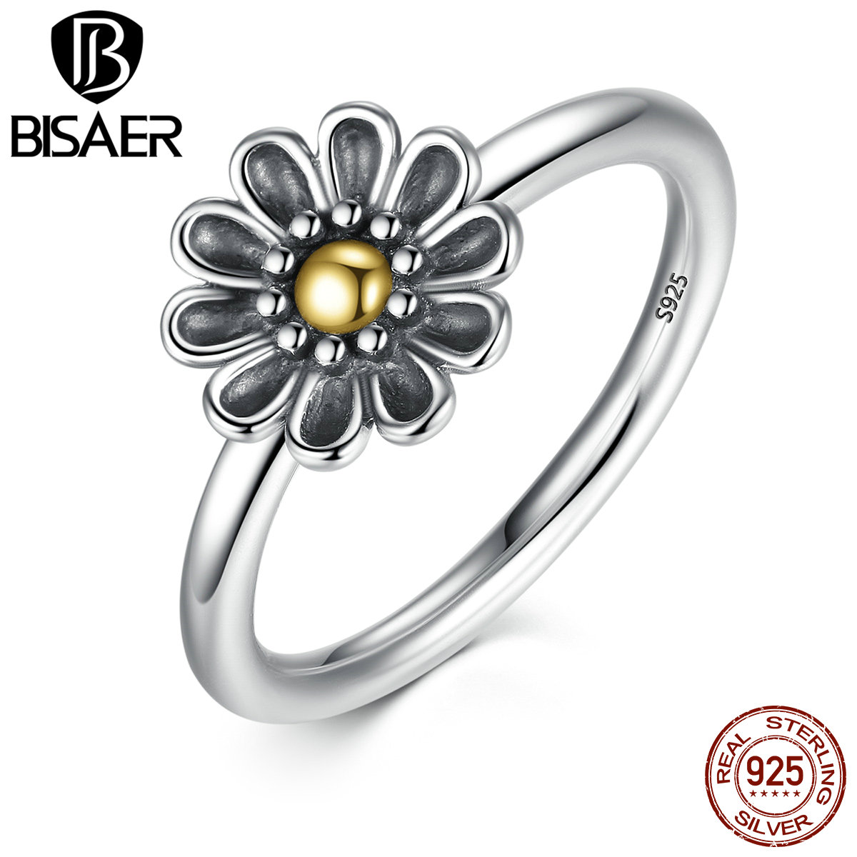 Genuine 925 sterling silver stackable ring dazzling daisy flower genuine 925 sterling silver stackable ring dazzling daisy flower rings for women sterling silver engagement jewelry s925 gift in rings from jewelry izmirmasajfo Image collections