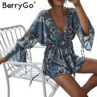 BerryGo Boho Print Chiffon Flare Sleeve Jumpsuit Romper Women Sexy Deep V Neck Backless Playsuit Summer