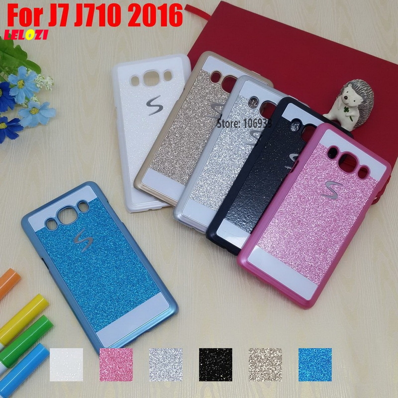 LELOZI Luxury Bling Shinning Glitter Hard PC Capinha Etui Case Cover For Samsung Galaxy J7 J710 2016 J710FN J710F J 7 White Pink