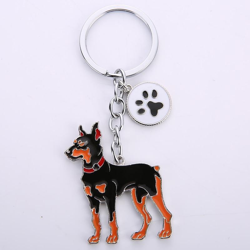 Dobermann dog pendant key chains for men women bag charms car metal keychain key ring holder jewelry gift Lovely Animal Key