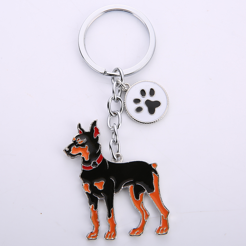 Dobermann Dog Pendant Key Chains For Men Women Bag Charms Car Metal Keychain Key Ring Holder Jewelry Gift Lovely Animal Key