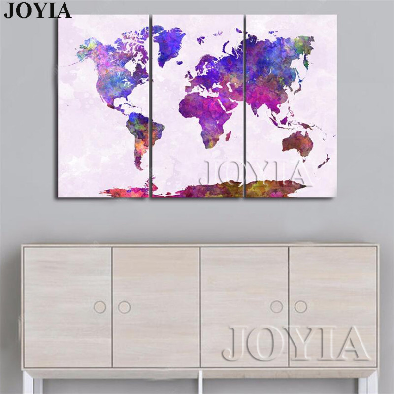 Big Canvas Art Modern Watercolor Abstract Ink Splash Big: Watercolor World Map Canvas Print Large Wall Art Picture