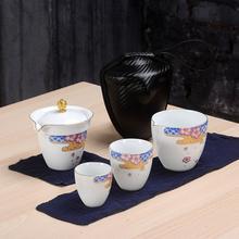 Handmade White Porcelain Kung Fu Tea Set Teapot Drinkware Tea Pot Cup Set Ceramic Chinese Pu Er Teaset Travel Tea Set цена