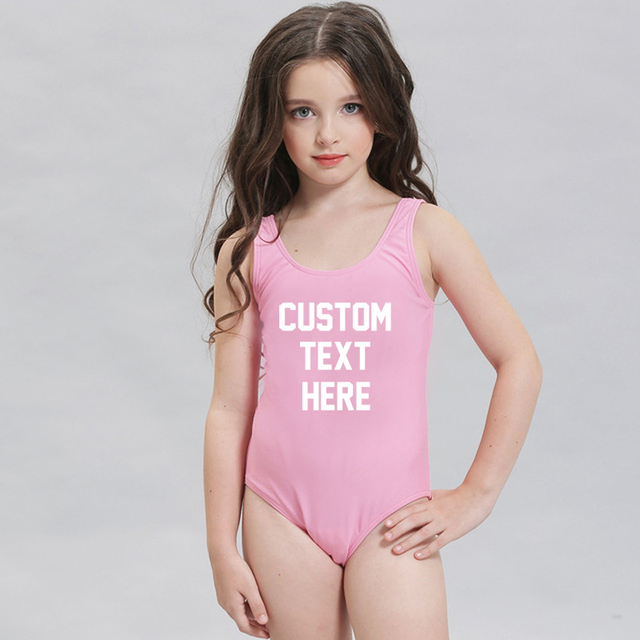 be67840af8076 Custom Text Children Swimsuit One Piece Swimwear Cute Girls Beachwear mayo  maillot de bain Bathing Suit