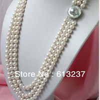 Hot sale natural freshwater round pearl 3 rows 8 9mm beads diy charming necklace jewelry making 17 19 inch MY4596