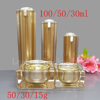 Gold Square Acrylic Lotion Cream Cosmetic Containers Luxury Skin Care Cream Jars , Acrylic Lotion Pump Bottles , Acrylic Pot Tin