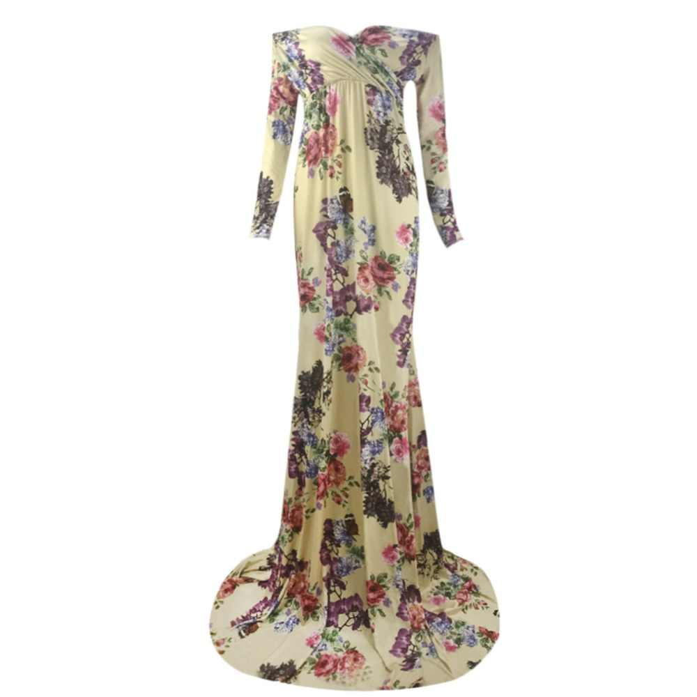 b5327d9a54fc9 Vintage Pregnant Women Dress Off Shoulder Floral Ruched Maxi Gown Long  Sleeve Dress Maternity Photo Props Wedding Long Dress