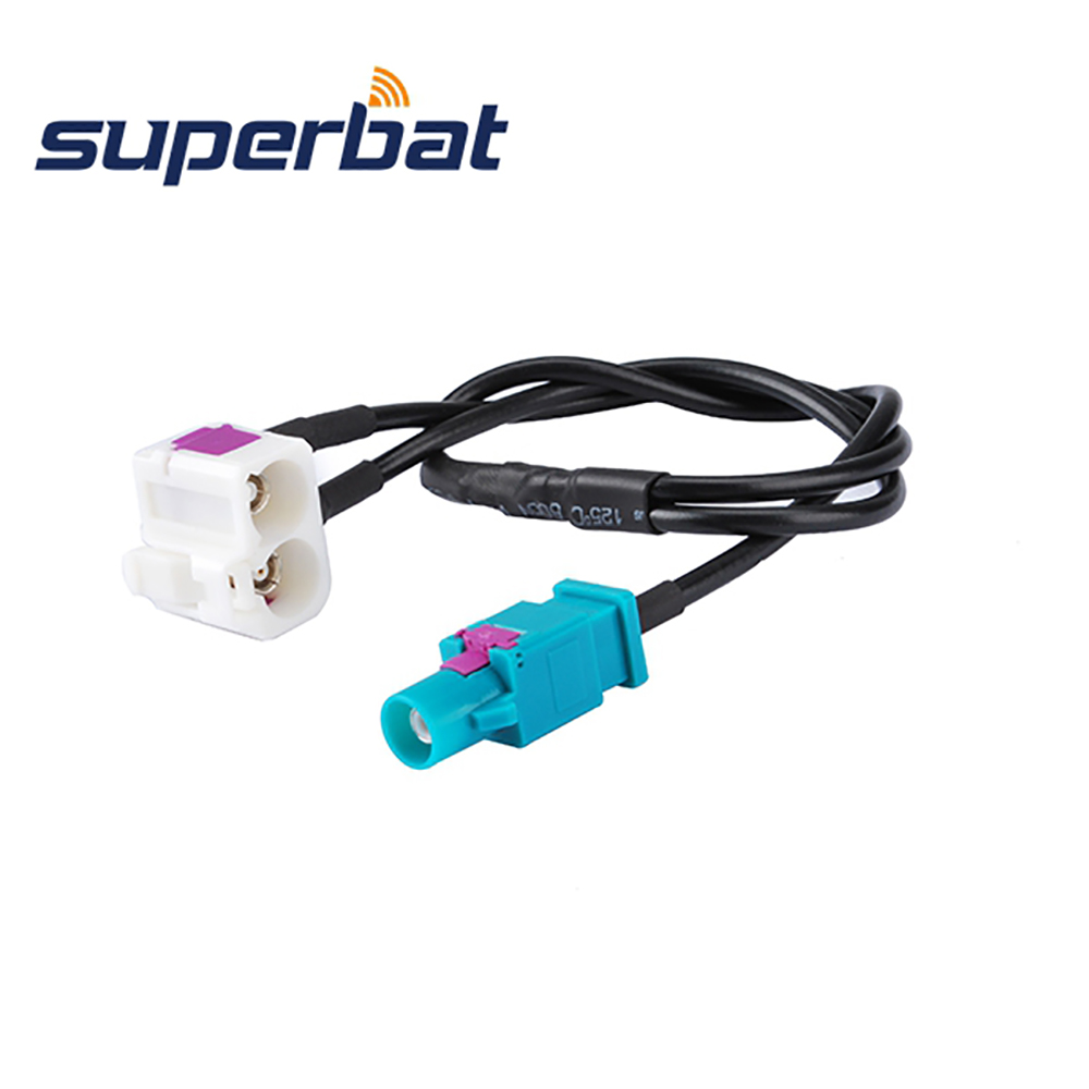 Superbat Fakra Double B Female to Fakra Z Male Straight Pigtail Jumper Coaxial Cable Fakra B-Z 30cm for Radio With Phantom