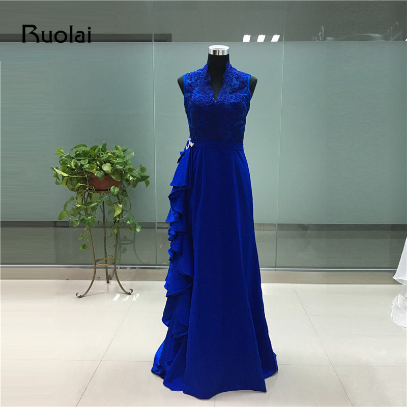 New Arrival 2017 Evening Dresses V-Neck A-Line Ruffles Royal Blue Satin Evening Dresses Long Sash Beaded Prom Party Gown FE51