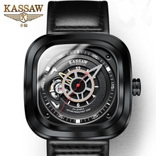 KASSAW Genuine Square Sports Watch Mens Leather Waterproof Large Dial Automatic Mechanical Relogio Masculino