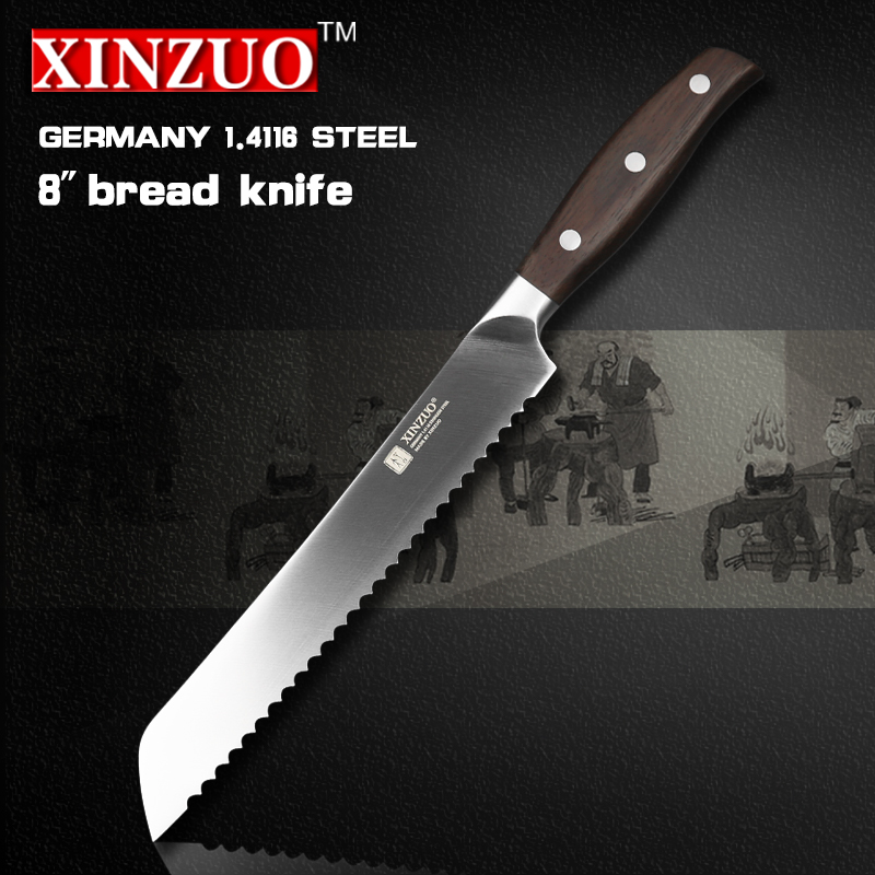XINZUO 8 inch bread font b knife b font Germany steel kitchen font b knife b