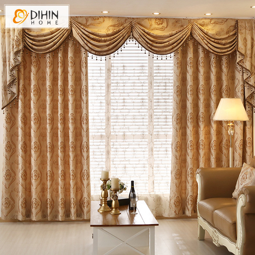 European Jarquard Embroidered Valance Curtains For Living