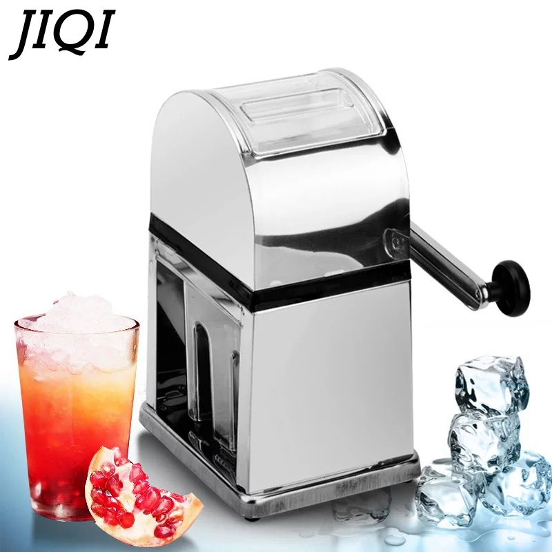JIQI Stainless Steel Manual Ice Crusher Mini Ice Shaver Chopper Manual Snow Cone Smoothie Maker Ice Block Breaking Slush Machine
