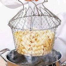 Cesto para freír a vapor plegable multifunción cesto para Chef, cesta mágica de malla, colador de red, utensilios de cocina