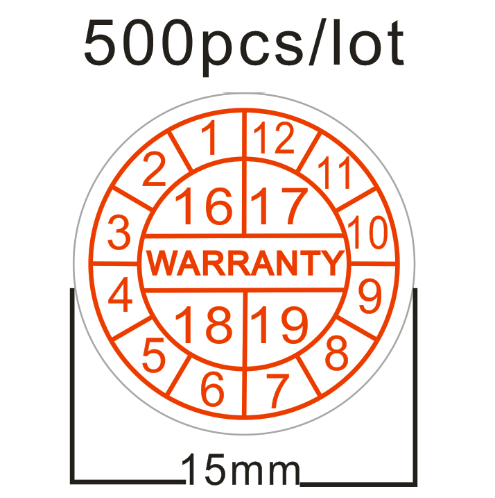 500pcs/lot Warranty sealing label sticker void if seal broken,Red font Year and month Stickers Diameter 15mm  free shipping fragile warranty sticker shall be null and void the warranty and black and red round 0 25 cm vulnerable if mobile