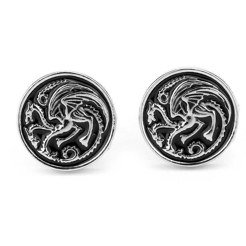 Hot Movie Game Of Thrones <font><b>Wolf</b></font> Head <font><b>Cufflinks</b></font> For Men House Stark and House Targaryen Badge <font><b>Cufflinks</b></font> Jewelry Chrismas Gift image