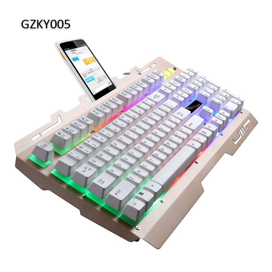 LED Backlit Wired Metal Computer Gaming Keyboard with Cell