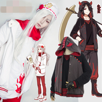Game Onmyoji SR Gui Shibai Gui Shihei Cosplay Costume White And Black Costumes Daily Hoodies Sweatshirts Jacket Coat+Shirt+Pants