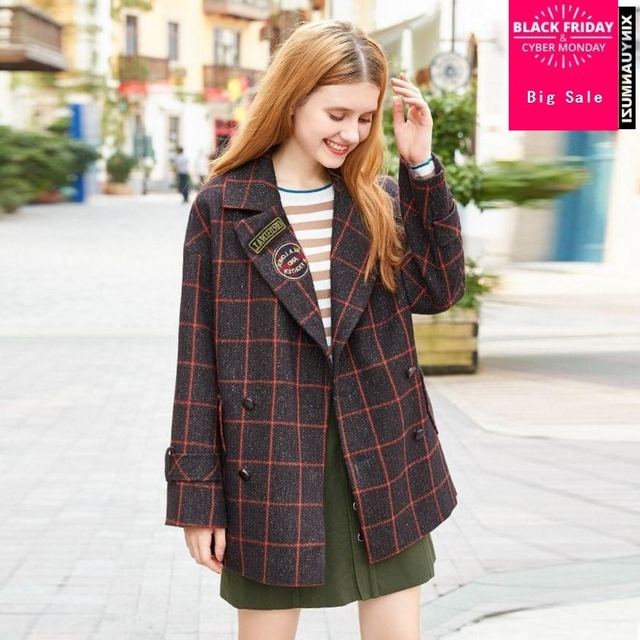 9f0360d3b4cf64 Plus size 2018 Spring fashion brand female British style plaid leisure suit  double-breasted woolen blazer wj1912 drop shipping