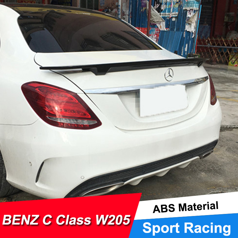 JNCFORURC <font><b>Rear</b></font> Trunk Car <font><b>Spoiler</b></font> For <font><b>Benz</b></font> C Class W205 C180 C200 <font><b>C300</b></font> 4-Door ABS Material <font><b>Spoiler</b></font> Wings For <font><b>Benz</b></font> C Class W205 image
