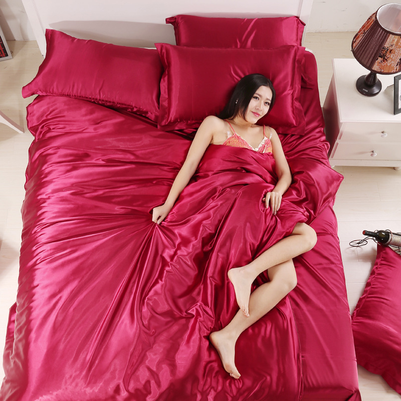 Image 4 - 100% Pure Satin Silk Bedding Set Home Textile King Queen Size Bed Set Bedclothes Duvet Cover Flat Sheet Pillowcases Wholesale-in Duvet Cover from Home & Garden