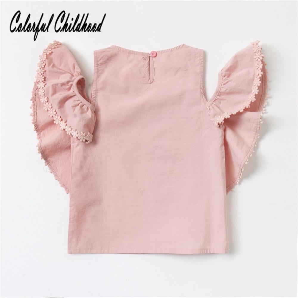 Blusa meninas camisa de algodão de verão Curto-luva pétala projeto tops roupas crianças 2-7Yrs