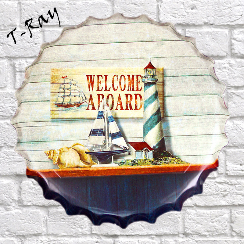 40x40cm WELCOME A BOARD Mediterranean Bottle Cap Wall Painting Retro Metal Tin sign Bar Home Party Plaque Decor RD 68