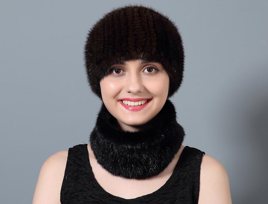 ใช้หมวกผ้าพันคอผ้าพันคอขนสัตว์ฤดูหนาวหญิงของแท้หมวกขนสัตว์ United ถัก States 2