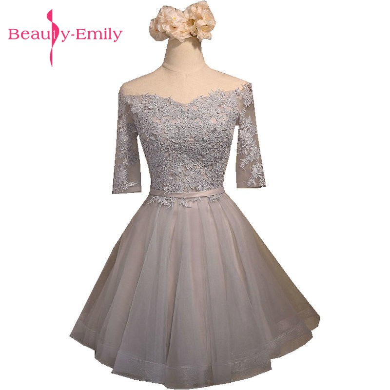 Beauty-Emily Short Party   Prom     Dresses   2018 Silver Sweetheart Knee-Length A-Line Occasion Appliques Beads Homecoming   dress