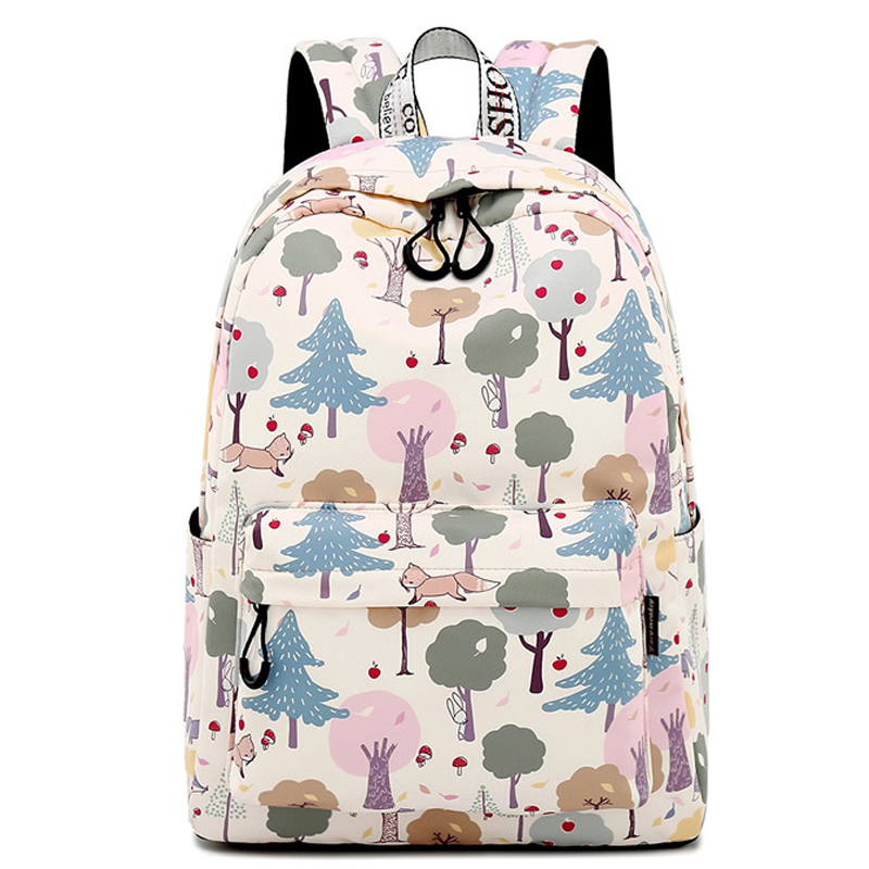 Casual Preppy Style Waterproof Women Backpack Animal And Plant Pattern Printing Large Capacity Female Knapsack Laptop School Bag